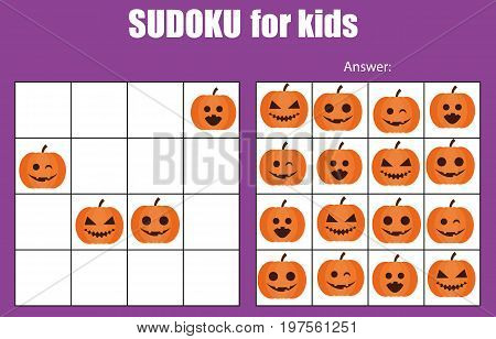 Sudoku game for children with pictures. Kids activity sheet. Training logic, educational game. Halloween theme