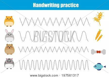 Handwriting practice sheet. Educational children game, restore the dashed line. Writing training printable worksheet with with wavy lines and animals