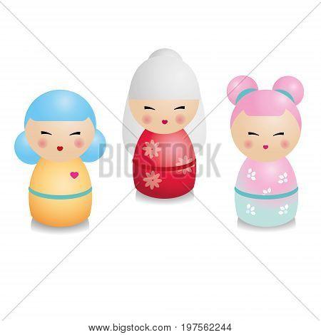 Fashionable kokeshi set. Traditional japanese dolls in realistic style. Design elements, icons. Vector illustration