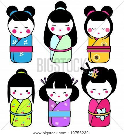 Cute kawaii kokeshi dolls stickers set. Traditional japanese dolls. hand drawn style icons. Vector illustration