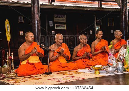 Samut Songkhram Thailand - July 27 2017: People commend merit at Wat Pradu