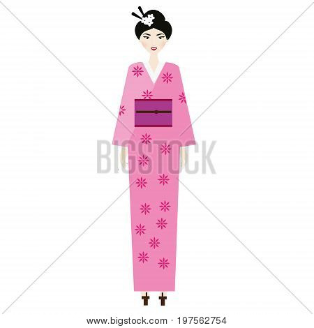 Woman in kimono. Female in traditional japanese clothes. Vector illustration