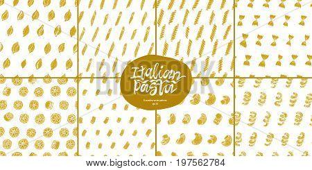 Different kinds of Italian pasta vector seamless pattern set. Fettucine, conchiglie, fusilli, cellentani, vermicelli, tagliatelle pipe rigate ruote macaroni penne farfalle spaghetti. Can be use for menu, label.