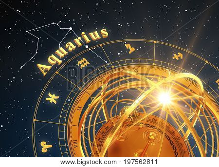 Zodiac Sign Aquarius And Armillary Sphere On Blue Background. 3D Illustration.