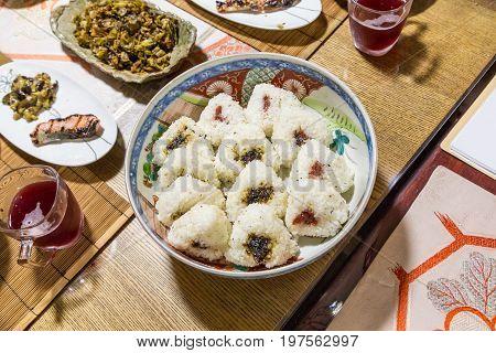 Homemade Onigiri - Japanese Style Vegetable Pickles Rice Balls.