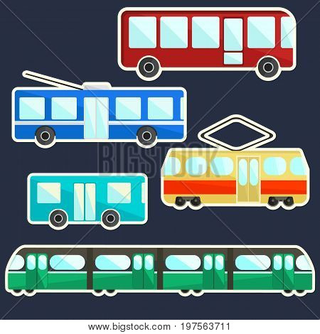 Flat vector bright colorful public transport stickers set ecological city transportation symbols including tram trolley bus shuttle and underground