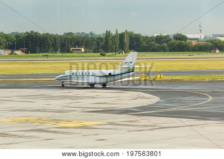 PRAGUE, CZECH REPUBLIC - JUNE 16, 2017: Cessna 680 Citation Sovereign OK-EMA Is waiting.