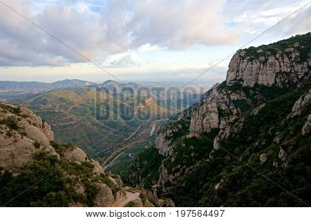 Scenic view of a rivery valley on a stormy day in Spain