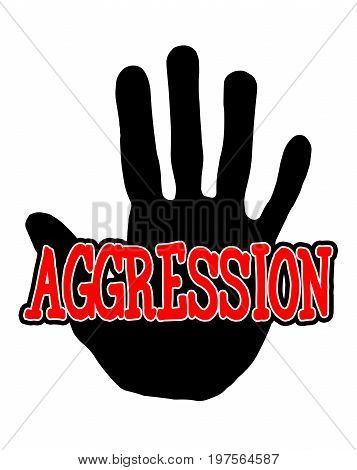 Man handprint isolated on white background showing stop aggression