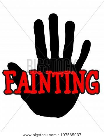 Man handprint isolated on white background showing stop fainting