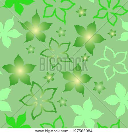 Seamless square green flower vector wallpaper pattern