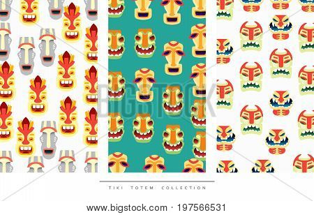Pattern Tiki Totem in flat style vector illustration.