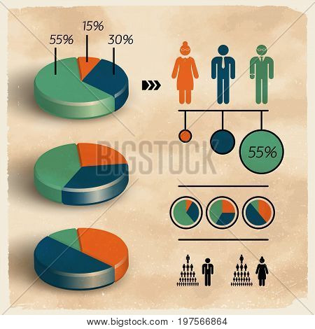 Pie business diagram template set presenting percentage and population statistics isolated on textured background flat vector illustration