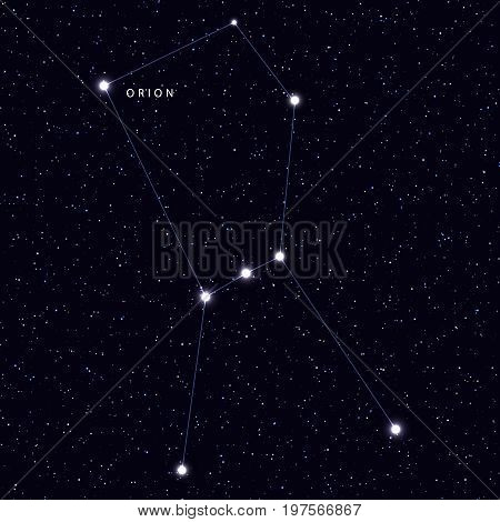 Sky Map with the name of the stars and constellations. Astronomical symbol constellation Orion