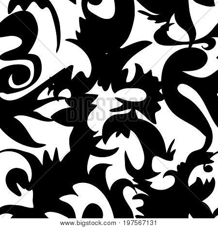 Seamless square black ornament vector background pattern