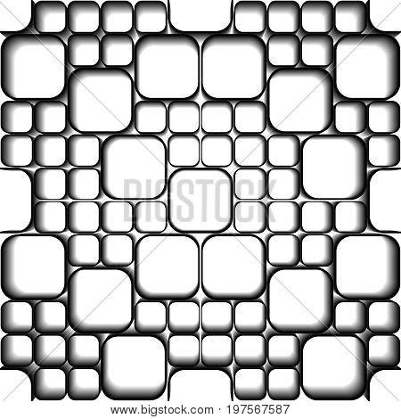 Black tiles on white. Seamless vector pattern