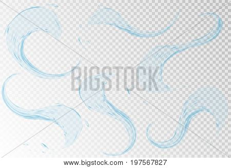 Set of transparent water splashes, aqua drops in light blue colors, isolated on transparent background. Transparency only in vector file. created with gradient mesh
