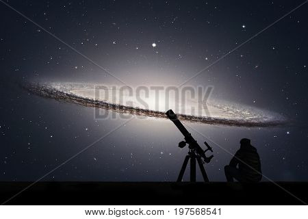 Man With Telescope Looking At The Stars. Sombrero Galaxy M104  In Constellation Virgo..elements Of T