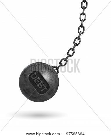 3d rendering of a large wrecking ball with a lettering DEBT swinging on a chain on white background. Budget deficit. Counting losses. Business liquidation.