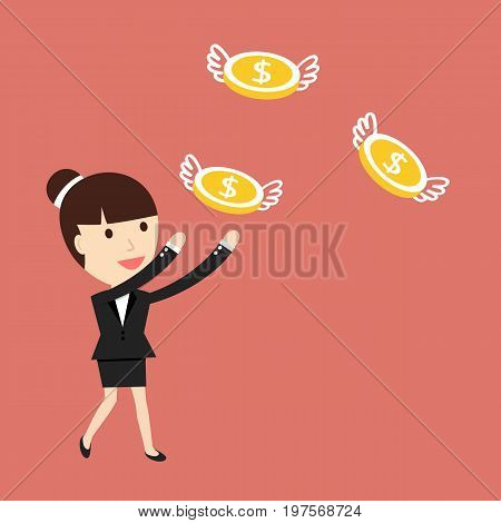 Businesswoman catches monetts. The concept of the desire for wealth. Vector illustration.