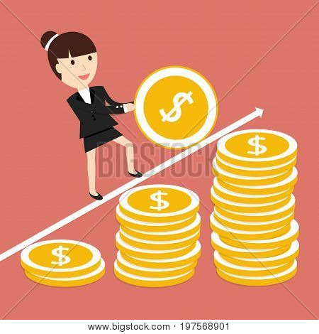 Business situation. Businesswoman coin rolls up. The concept of a lot of work for a big profit. Vector illustration.