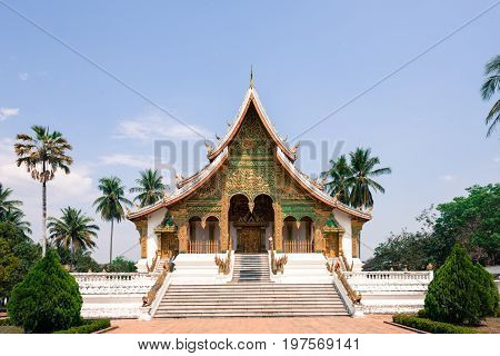 Front picture of Haw Pha Bang located on the grounds of the Royal Palace Museum in Luang Prabang Laos.