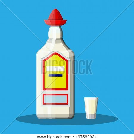 Bottle of tequila with shot glass. Tequila alcohol drink. Traditional Mexican drink. Vector illustration in flat style