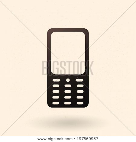 Vector Black Silhouette Icon - Old-fashioned Cellphone With Keyboard