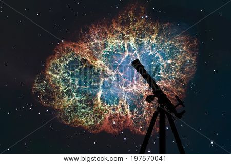 Space Background With Silhouette Of Telescope. Crab Nebula In Constellation Taurus. Supernova Core P