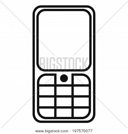 Vector Black Outline Icon - Cellphone With Keyboard