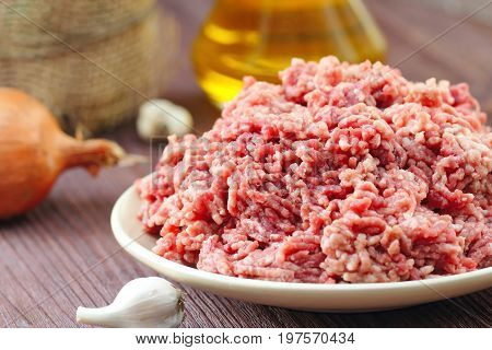Raw Minced Beef In A Bowl