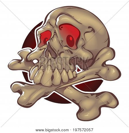 Skull and crossbones, with red eyes Vector file