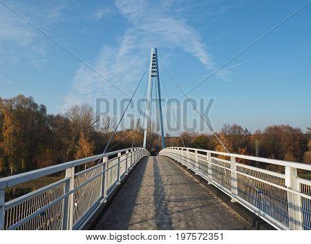 Empty Footbridge On Steel Rope Over The River Elbe,  Czech Republik