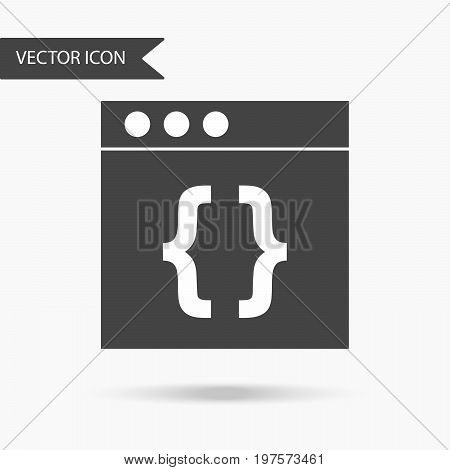 Icon with symbols of brackets on a white background. The flat icon for your web design logo UI. Vector illustration.