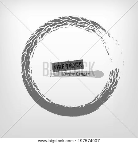 Tire track circle grunge frame. Digital vector illustration. Automotive background element useful for poster, flyer, book, brochure and leaflet design. Editable graphic image in monochrome colors.
