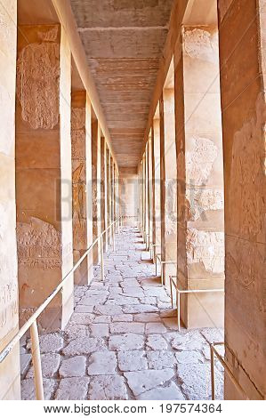 Colonnade of palace of Hatshepsut in Luxor, Egypt