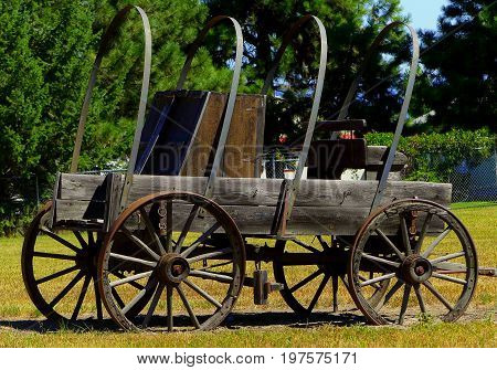 Old fashioned Prairie Schooner used by settlers to travel west.