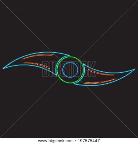 Fidget spinner stroke line neon luminescence in black background