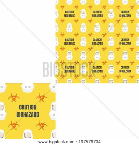 Seamless pattern of Rescue and fire with biohazard signs gray text and white helmets on the yellow background with pattern unit.