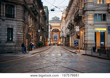 MILAN - MAY 24: street view with tram track on May 24, 2016 in Milan, Italy. Milan is the second most populous in Italy and the main industrial and financial center.