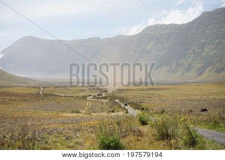 Nature landscape view of savanna meadow in Bromo Tengger Semeru Mountain National Park East Java Indonesia