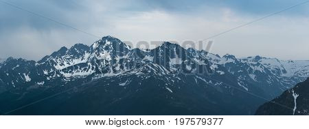 Snow mountain top. Mount Dzichekish. Greater Caucasus Mountain Range. Karachay-Cherkessia. Russia.
