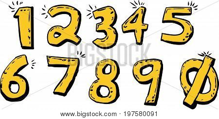 Set Of Shiny Cartoon Numbers