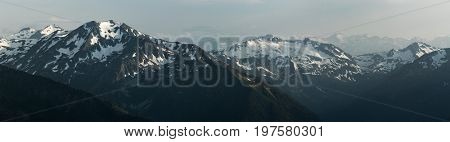 Snow mountain tops. Greater Caucasus Mountain Range. Karachay-Cherkessia. Russia.