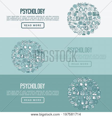 Psychological help concept with thin line icons. Vector illustration for web page, banner, print media.