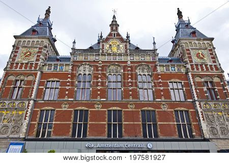 Amsterdam Centraal the largest railway station of Amsterdam Netherlands and a major national railway hub. The most visited national heritage site of the Netherlands