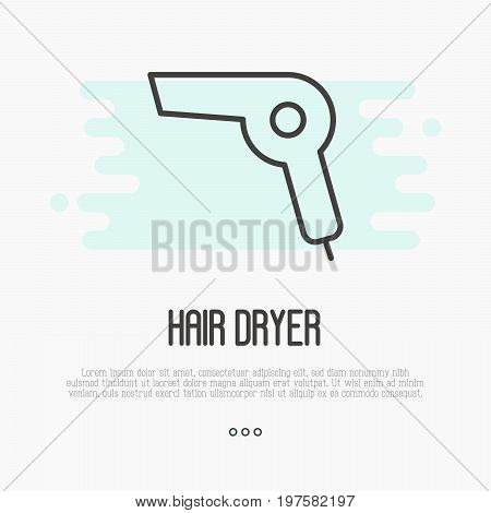 Thin line icon of hairdryer, element of logo for barber, stylist, hairdresser. Simple minimalistic vector illustration.