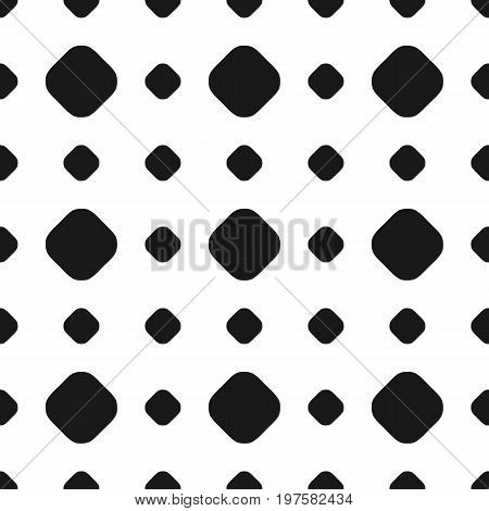 Polka dot seamless pattern, vector subtle texture. Abstract monochrome background with different sized black circles on white backdrop. Geometric grid. Dotted design element for prints, decor, paper. Grid pattern.