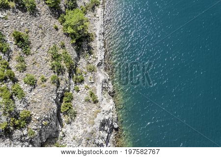 Sea shore. View from above. Rocky shore of the Adriatic Sea.