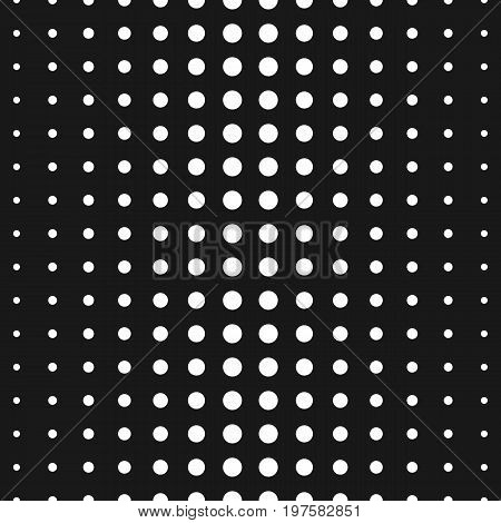 Vector monochrome seamless pattern, black & white halftone transition different sized circles. Half tone dots background. Simple modern geometric texture. Trendy design for prints, decor, web, fabric. Halftone pattern. Polka dot pattern.